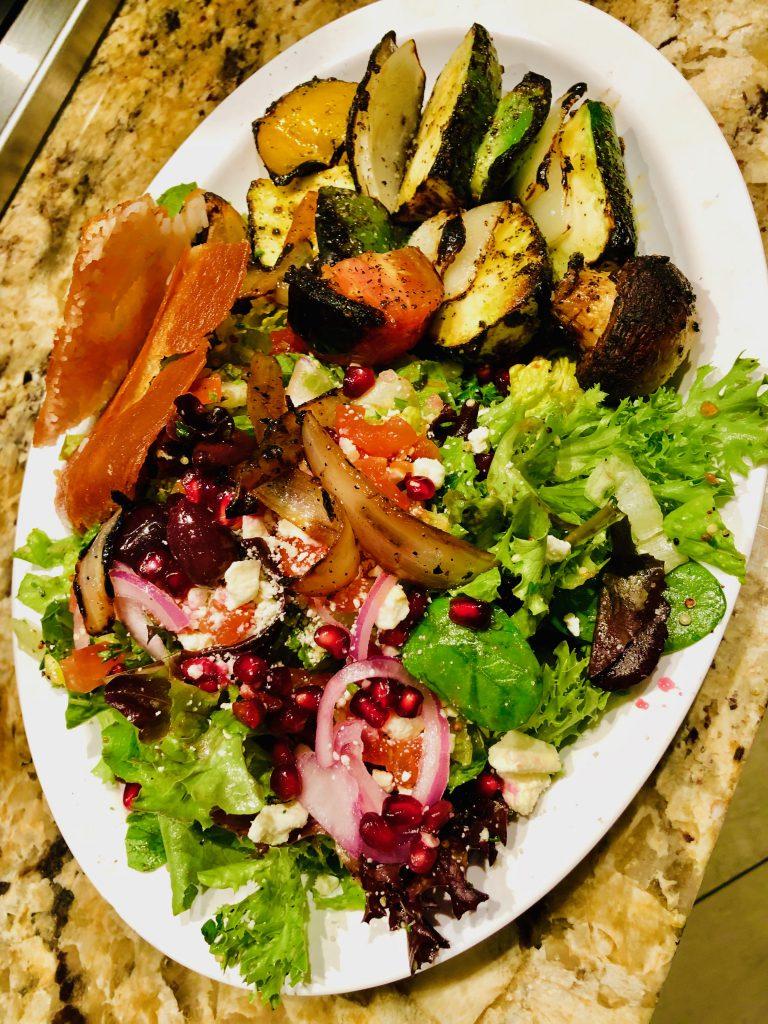 Vegetable kabob w/ Greek salad