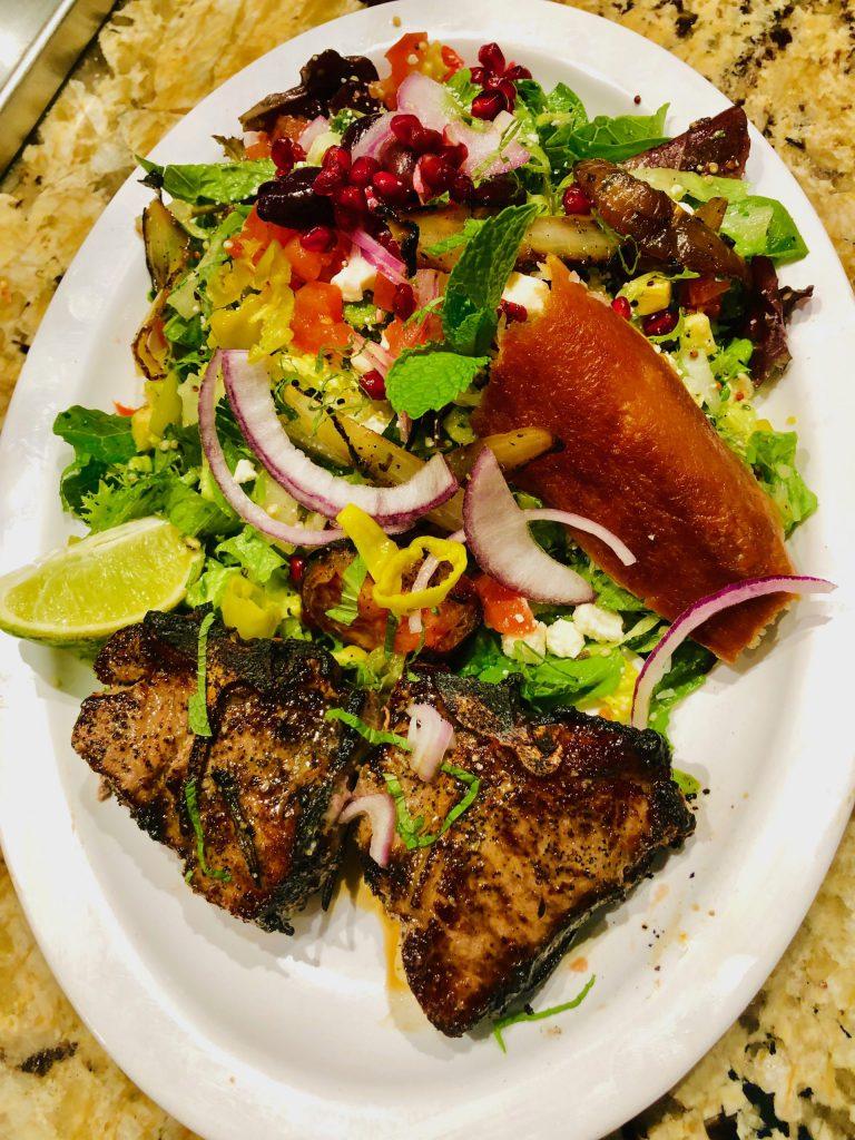 Lamb kabob w/ Greek salad