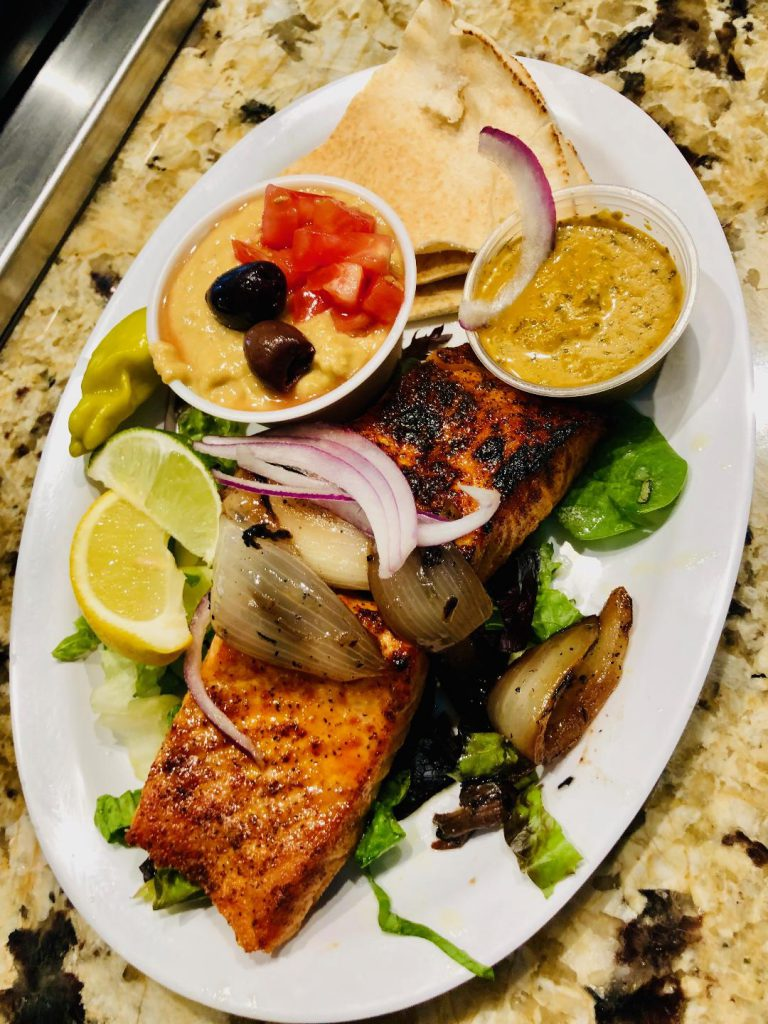 Salmon kabob w/ Hummus and habanero